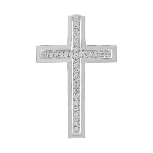 14k Gold White Rhodium, Fancy 2 in 1 Cross Pendant Religious Charm Created CZ Crystal (P056-064)
