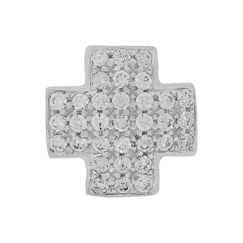 14k Gold White Rhodium, Fancy Cross Pendant Modern Religious Charm Created CZ Crystals (P056-065)