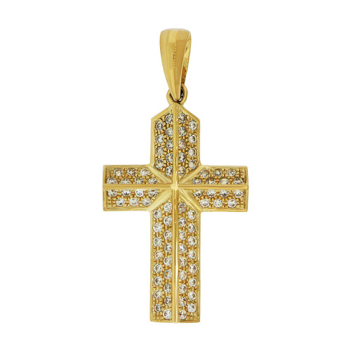 14k Yellow Gold, Fancy Cross Pendant Religious Charm Created CZ Crystals (P057-001)