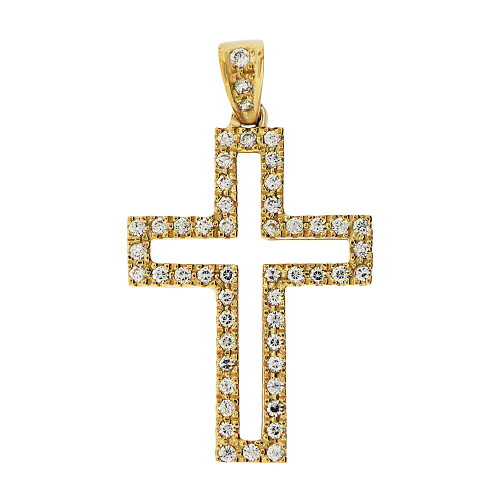 14k Yellow Gold, Fancy Cross Pendant Religious Charm Created CZ Crystals  (P057-002)