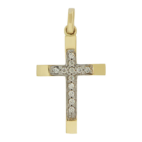 14k Yellow Gold, Fancy Thin Cross Pendant Religious Charm Created CZ Crystals (P057-003)