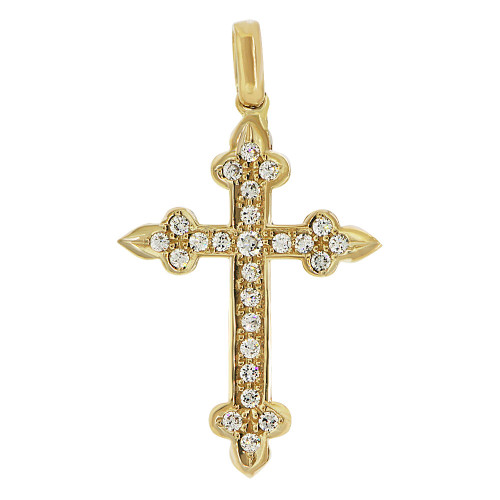 14k Yellow Gold, Fancy Cross Pendant Religious Charm Created CZ Crystals  (P057-004)