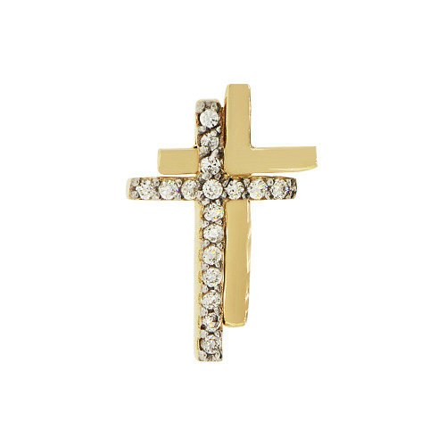 14k Yellow Gold, Mini Fancy Double Cross Pendant Religious Charm Created CZ Crystals (P057-005)