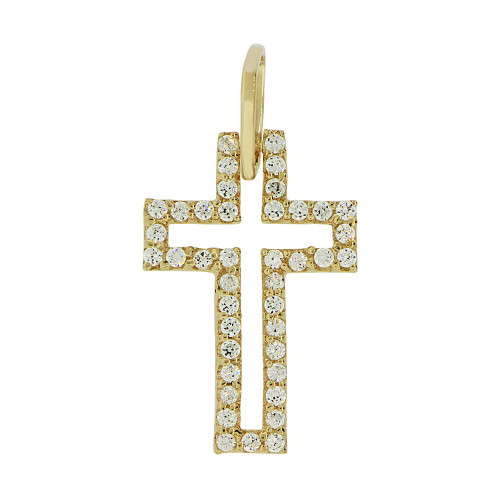 14k Yellow Gold, Small Fancy Cross Pendant Religious Charm Created CZ Crystals (P057-006)