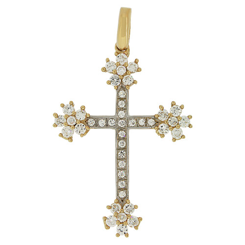 14k Yellow Gold White Rhodium, Fancy Star Burst Cross Pendant Religious Charm Created CZ Crystals  (P057-007)