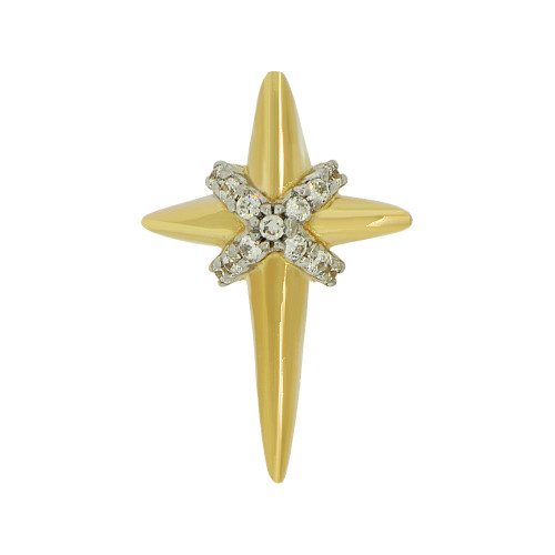 14k Yellow Gold, Small Modern Design Cross Pendant Religious Charm Created CZ Crystals  (P057-013)