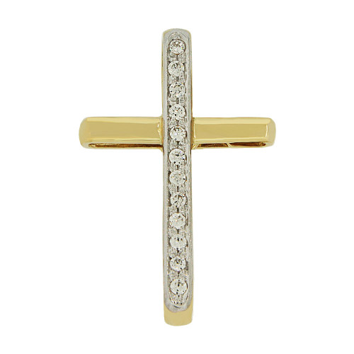 14k Yellow Gold, Simple Cross Pendant Religious Charm Created CZ Crystals  (P057-014)