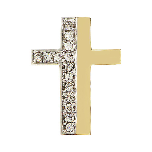 14k Yellow Gold, Fancy Slider Cross Pendant Religious Charm Created CZ Crystals  (P057-015)
