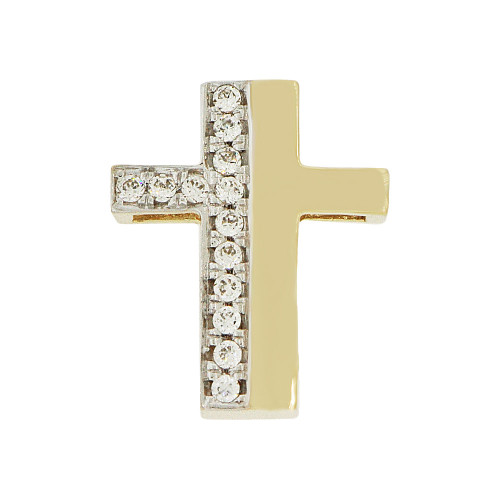 14k Yellow Gold, Small Fancy Slider Cross Pendant Religious Charm Created CZ Crystals  (P057-016)