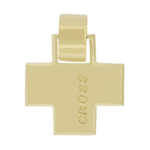 14k Yellow Gold, Elegantly Simple Modern High Polished Cross Pendant Religious Charm (P057-018)