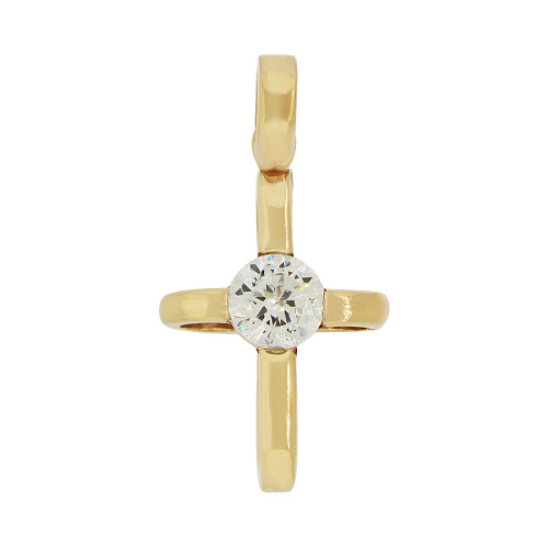14k Yellow Gold, Small Cross Pendant Religious Charm Created CZ Crystal  (P057-020)