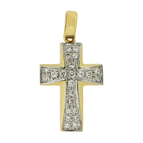 14k Yellow Gold White Rhodium, Fancy Cross Pendant Religious Charm Created CZ Crystals  (P057-021)