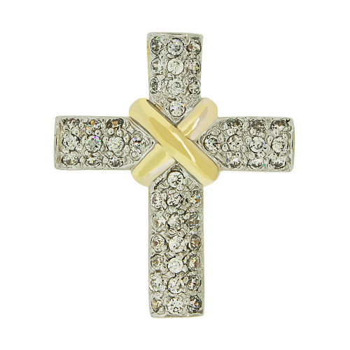 14k Yellow Gold White Rhodium, Fancy Cross Pendant Religious Charm Created CZ Crystals  (P057-022)