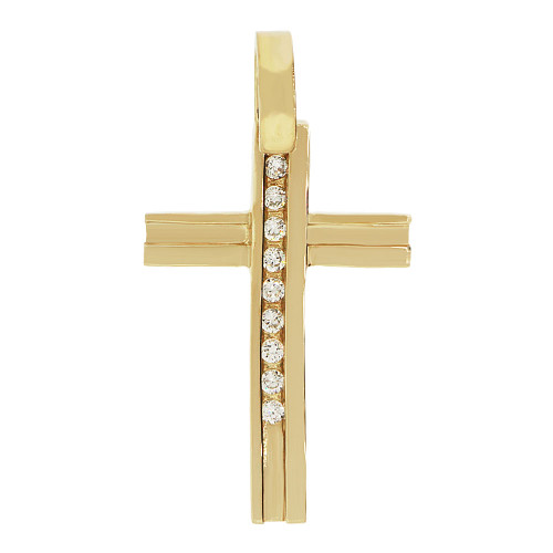 14k Yellow Gold, Simple Cross Pendant Religious Charm Created CZ Crystals  (P057-023)