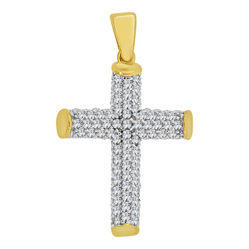 14k Yellow Gold White Rhodium, Round Tubular Cross Pendant Religious Charm Created CZ Crystals  (P057-028)