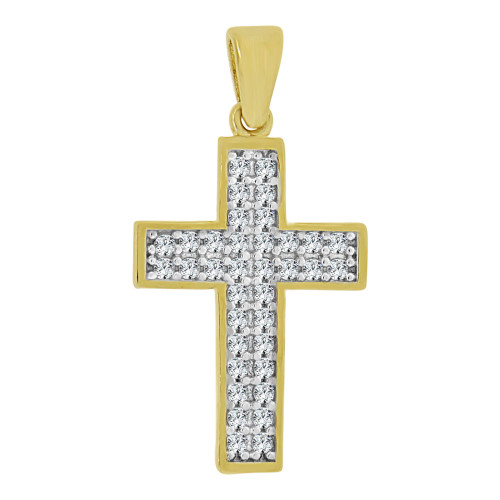 14k Yellow Gold White Rhodium, Classic Cross Pendant Religious Charm Created CZ Crystals  (P057-030)