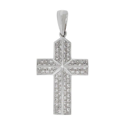 14k Gold White Rhodium, Fancy Cross Pendant Religious Charm Created CZ Crystals (P057-051)