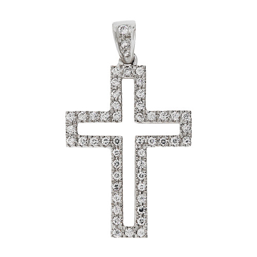 14k Gold White Rhodium, Fancy Cross Pendant Religious Charm Created CZ Crystals  (P057-052)