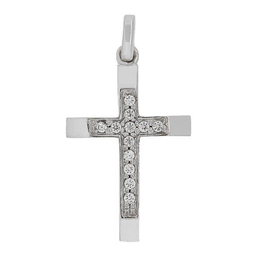 14k Gold White Rhodium, Fancy Thin Cross Pendant Religious Charm Created CZ Crystals (P057-053)
