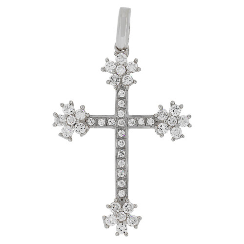 14k Gold White Rhodium, Fancy Star Burst Cross Pendant Religious Charm Created CZ Crystals  (P057-057)