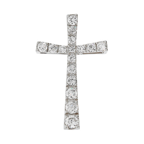 14k Gold White Rhodium, Simple Cross Pendant Religious Charm Created CZ Crystals (P057-059)