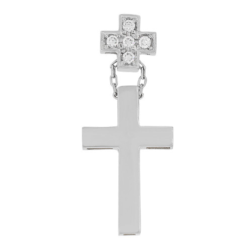 14k Gold White Rhodium, Small Fancy Double Cross Pendant Religious Charm Created CZ Crystals  (P057-062)