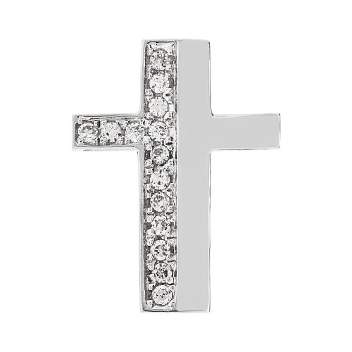 14k Gold White Rhodium, Fancy Slider Cross Pendant Religious Charm Created CZ Crystals  (P057-065)