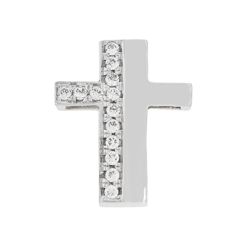 14k Gold White Rhodium, Small Fancy Slider Cross Pendant Religious Charm Created CZ Crystals  (P057-066)