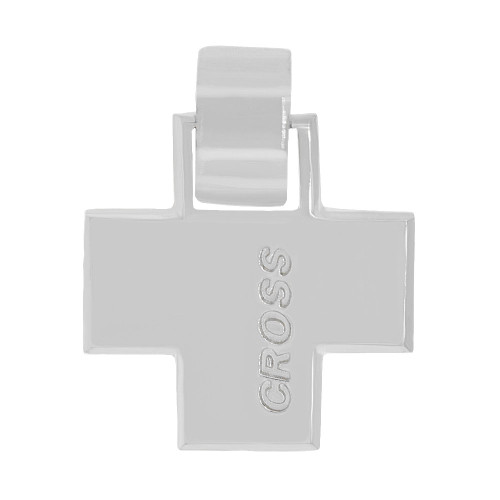 14k Gold White Rhodium, Elegantly Simple Modern High Polished Cross Pendant Religious Charm (P057-068)
