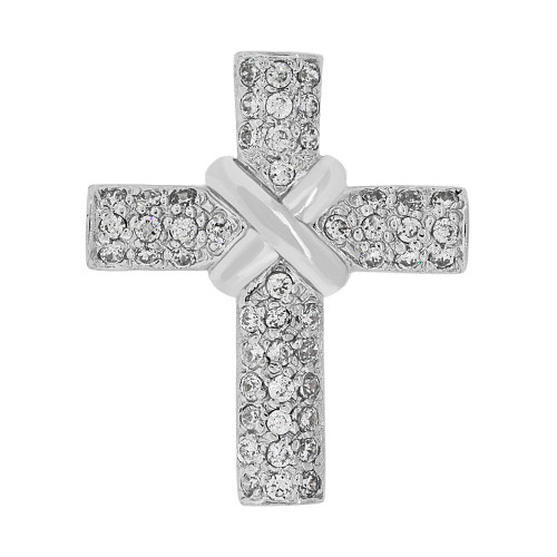 14k Gold White Rhodium, Fancy Cross Pendant Religious Charm Created CZ Crystals  (P057-072)