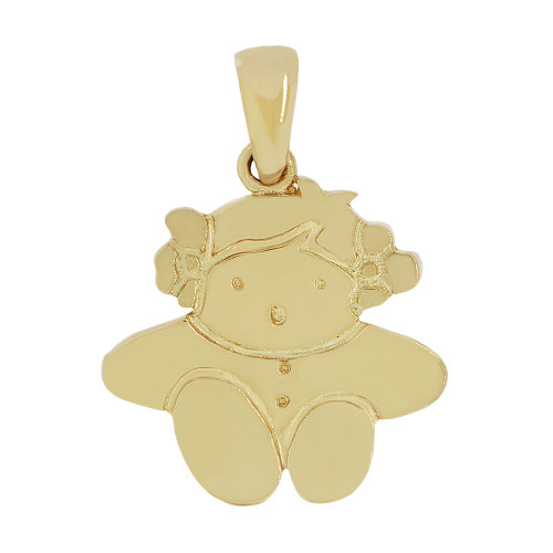 14k Yellow Gold, Adorable Girl Pendant Charm Polished Finish (P058-001)