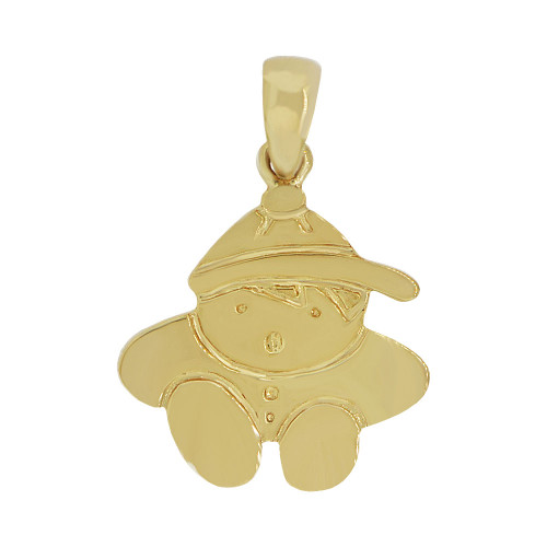 14k Yellow Gold, Adorable Boy Pendant Charm Polished Finish (P058-002)