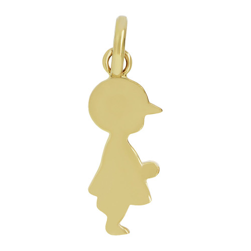 14k Yellow Gold, Adorable Boy Pendant Silhouette Charm Polished (P058-003)