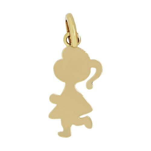 14k Yellow Gold, Adorable Girl Pendant Silhouette Charm Polished (P058-004)