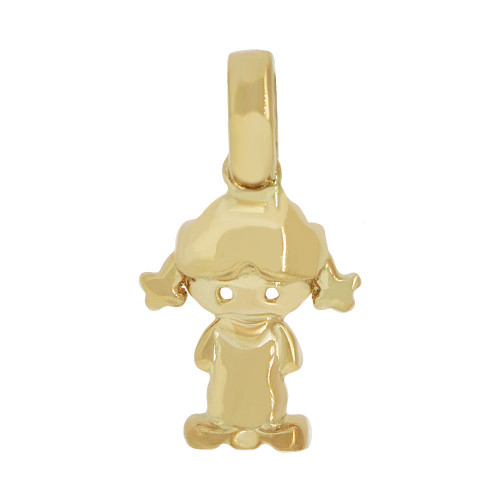 14k Yellow Gold, Small Adorable Girl Pendant Charm Polished (P058-005)