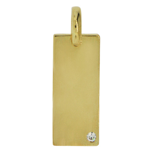 14k Yellow Gold, Simple Rectangular Plate Pendant Charm Created CZ Crystal (P058-009)