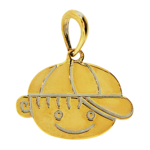 14k Yellow Gold, Adorable Boy Face Pendant Charm Polished (P058-021)