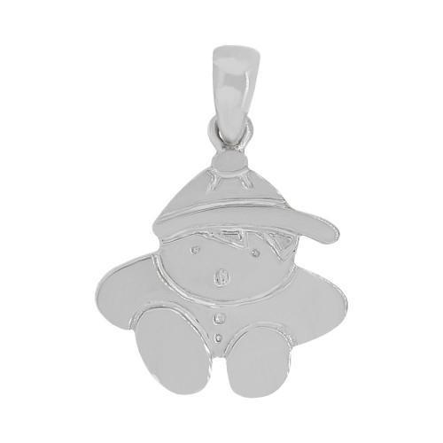 14k Gold White Rhodium, Adorable Boy Pendant Charm Polished Finish (P058-052)