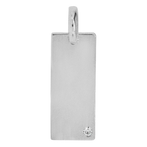14k Gold White Rhodium, Simple Rectangular Plate Pendant Charm Created CZ Crystal (P058-059)