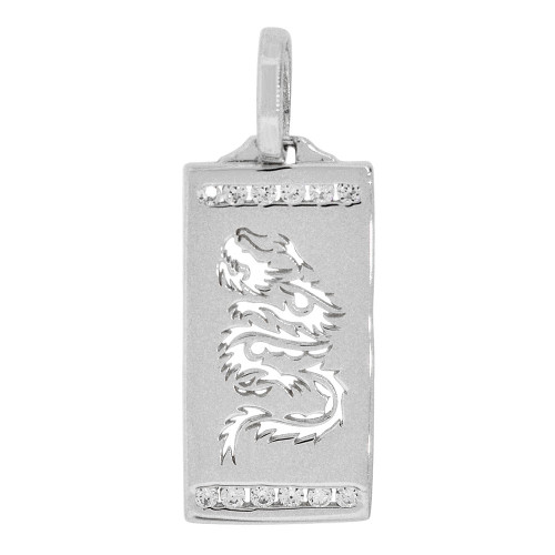 14k Gold White Rhodium, Small Asian Dragon Cutout Pendant Rectangular Charm Created CZ Crystals (P058-066)