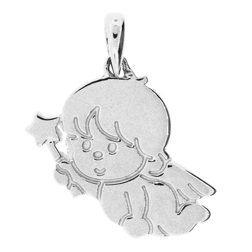 14k Gold White Rhodium, Adorable Fairy Pendant Charm Polished (P058-069)