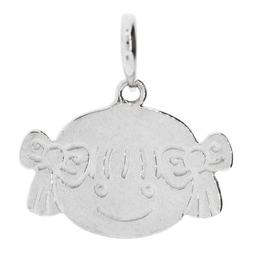 14k Gold White Rhodium, Adorable Girl Face Pendant Charm Polished (P058-070)