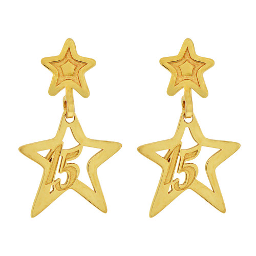 14k Yellow Gold, Star 15 for Quinceanera Dangling Earring (E014-025)