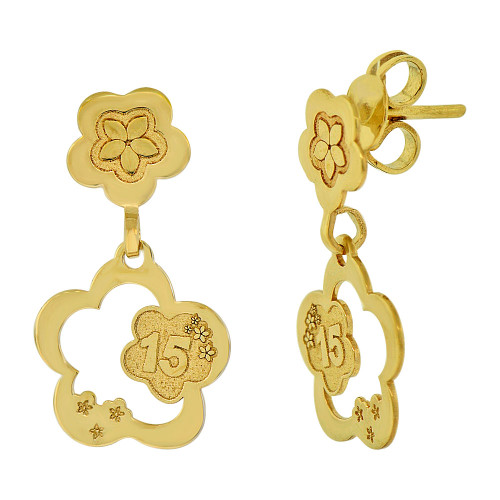 14k Yellow Gold, Flower 15 for Quinceanera Dangling Earring (E014-026)