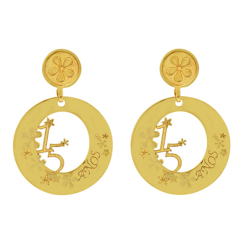 14k Yellow Gold, Circular 15 Anos for Quinceanera Dangling Earring (E014-027)