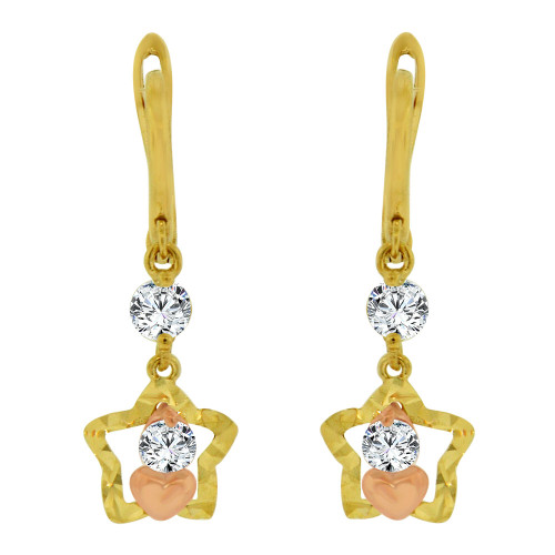 14k Yellow & Rose Gold, Small Star & Heart Drop Earring Created CZ Crystals (E014-030)