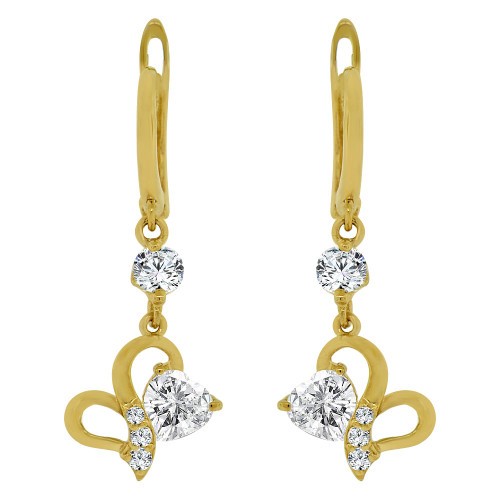 14k Yellow Gold, Small Heart Dangling Drop Earring Created CZ Crystals (E014-031)