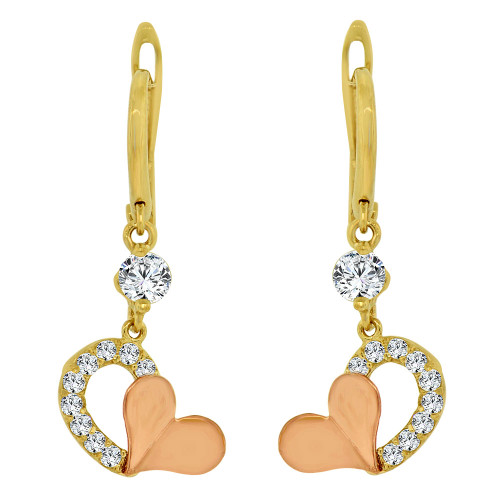 14k Yellow & Rose Gold, Heart Dangling Drop Earring Created CZ Crystals (E014-032)