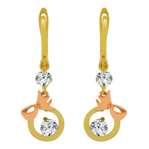 14k Yellow & Rose Gold, Bow & Circle Dangling Drop Earring Created CZ Crystals (E014-034)