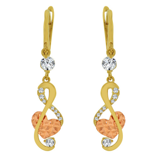 14k Yellow & Rose Gold, Musical Note Heart Dangling Drop Earring Created CZ Crystals (E014-035)